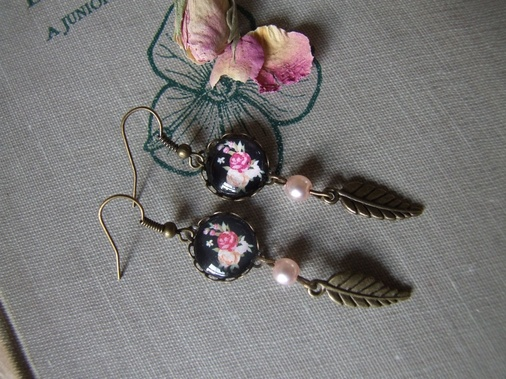vintage style rose cameo earrings